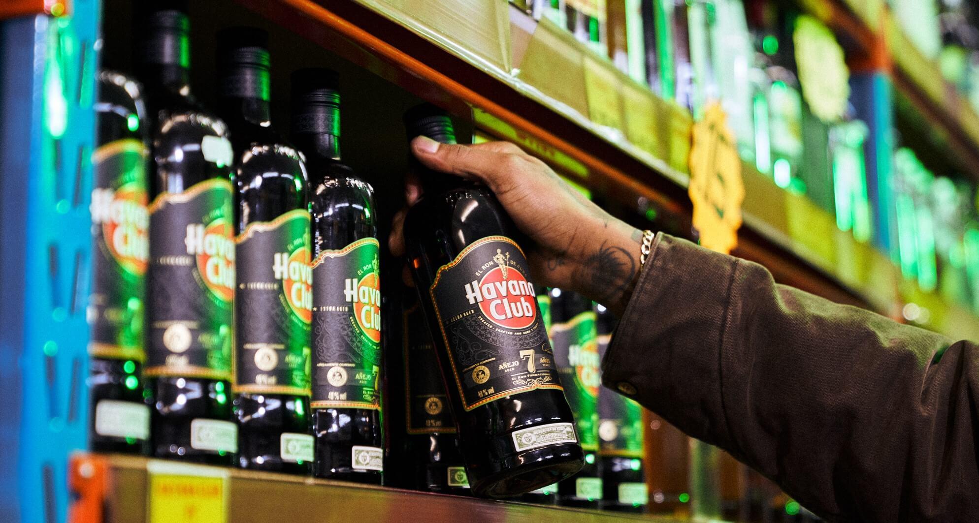 Bottles of Havana Club 7 anos on a shelf in-store