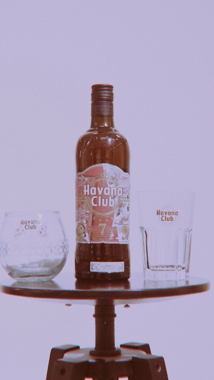 Collab Aries Arise x Havana Club limited edition bottle and glass